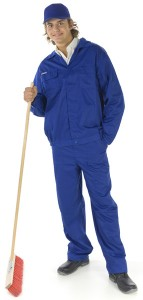 Custodian in Uniform with Push Broom